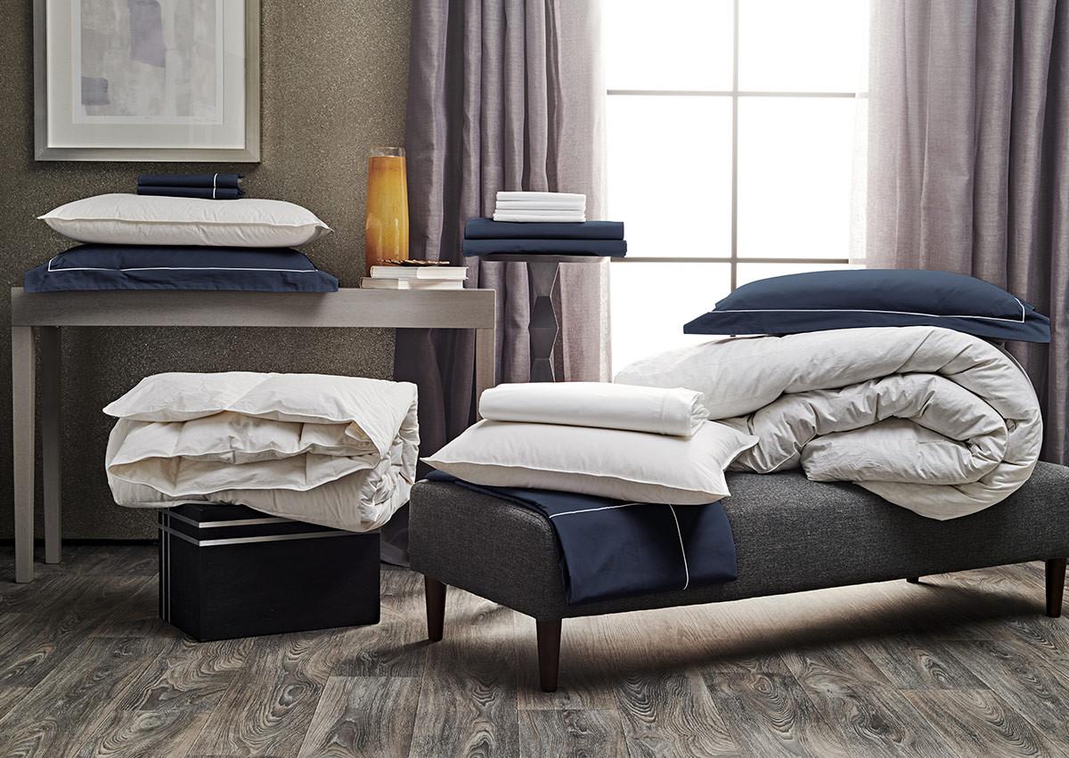 Ensemble literie percale bleu de minuit linge de lit sofitel for Ensemble de literie